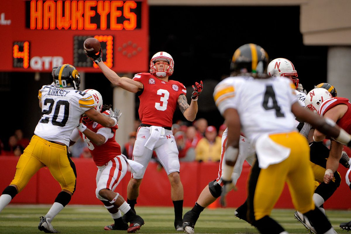 Hopefully passes like this are a thing of the past.  Taylor Martinez's fundamentals is one of the things I want to see improvement on in the 2012 Nebraska spring game. (Photo by Eric Francis/Getty Images)