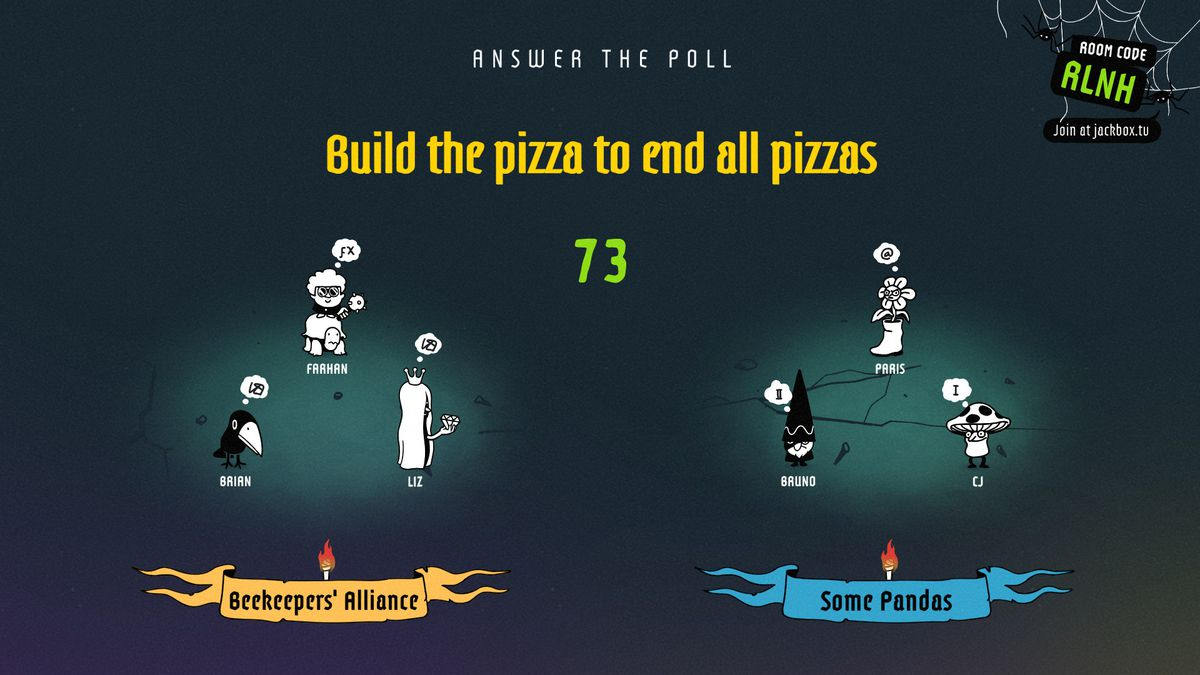 The Poll Mine - two groups of adventurers stare at each other as the question of the best pizza topping arises