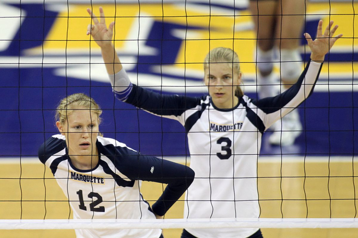 Jackie Kocken (12) and Nele Barber (3) are amongst the deep lineup of hitters that earned MU votes in the AVCA preseason poll.