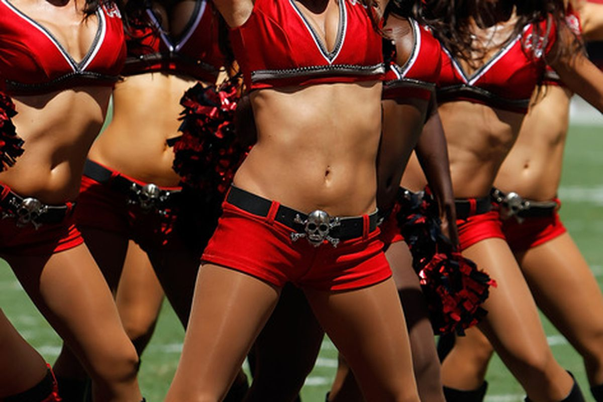 TAMPA FL - SEPTEMBER 26:  Cheerleaders of the Tampa Bay Buccaneers perform during the game against the Pittsburgh Steelers at Raymond James Stadium on September 26 2010 in Tampa Florida.  (Photo by J. Meric/Getty Images)