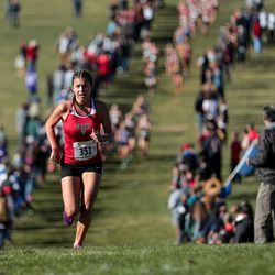 Kylah Ricks of Grand County takes a commanding lead on the way to first place in the 3A Girls Statr Cross-Country Championships at Sugar House Park in Salt Lake City on Wednesday, Oct. 23, 2019.