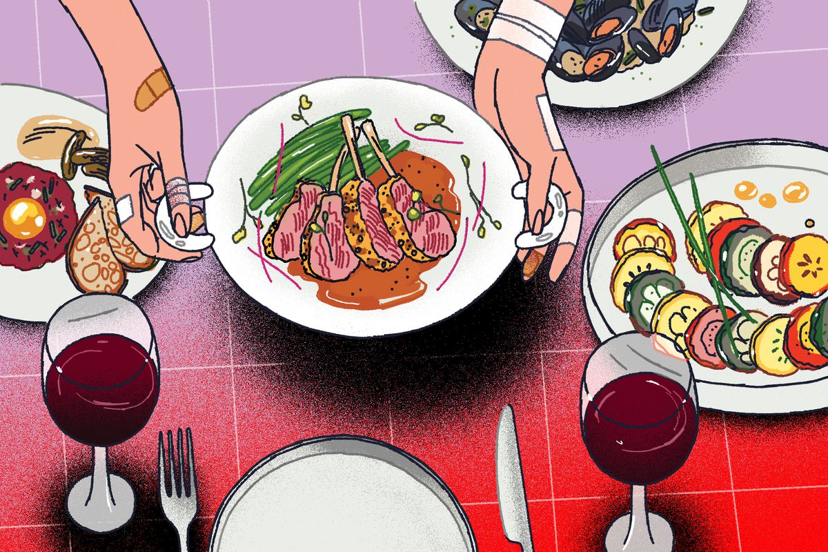 An illustration of a chef plating a dish with bandages on her hands