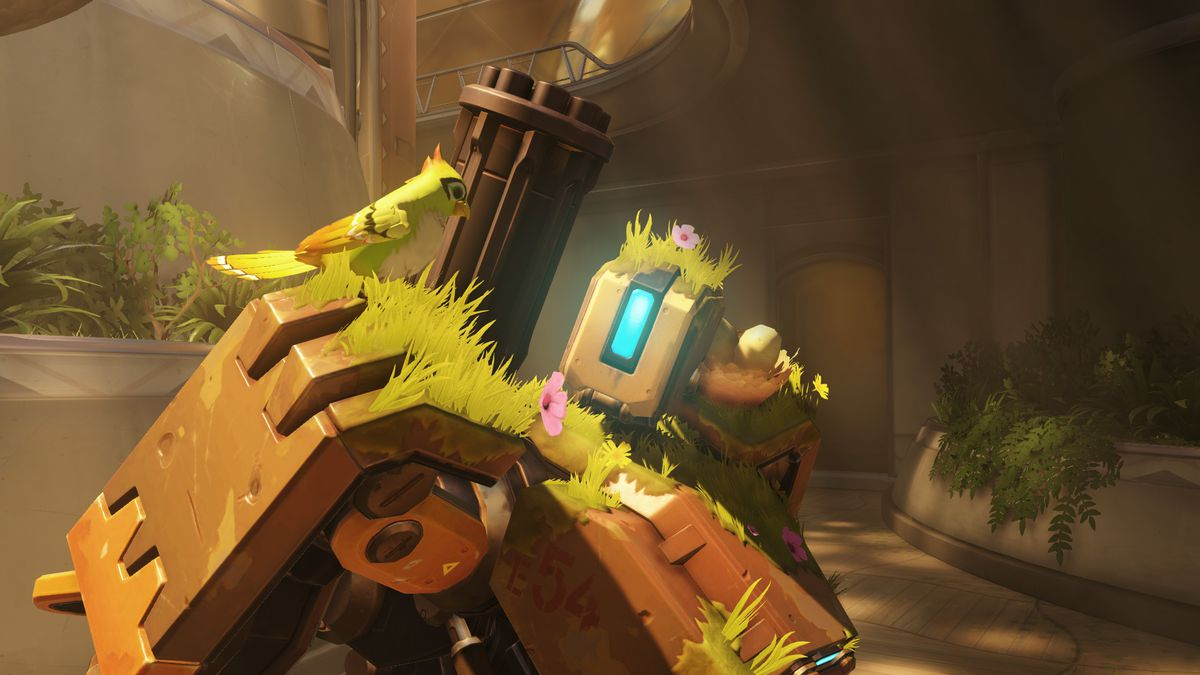 Overwatch's Bastion poses with a bird