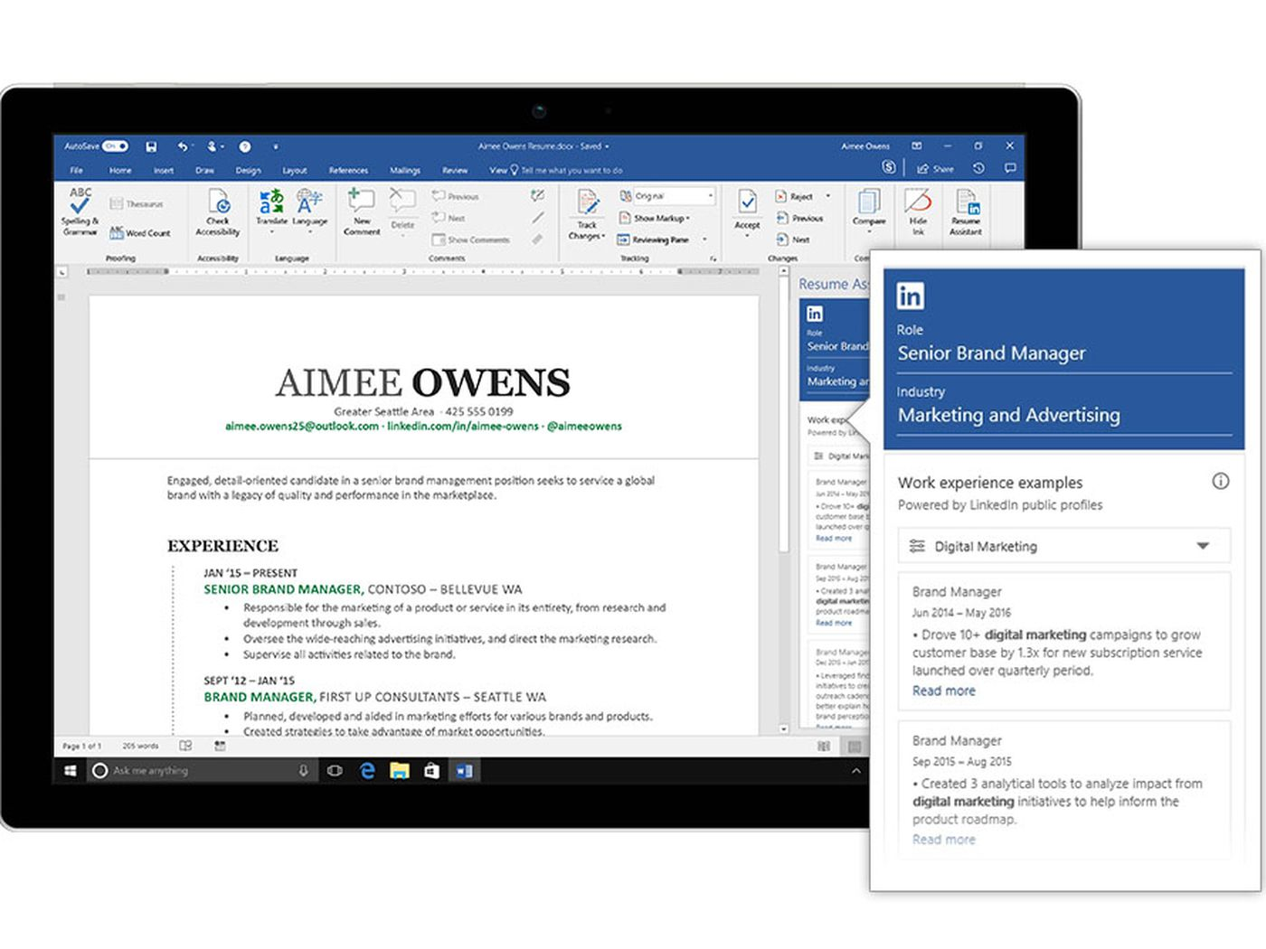 Microsoft integrates LinkedIn with Word to help you write a resume ...