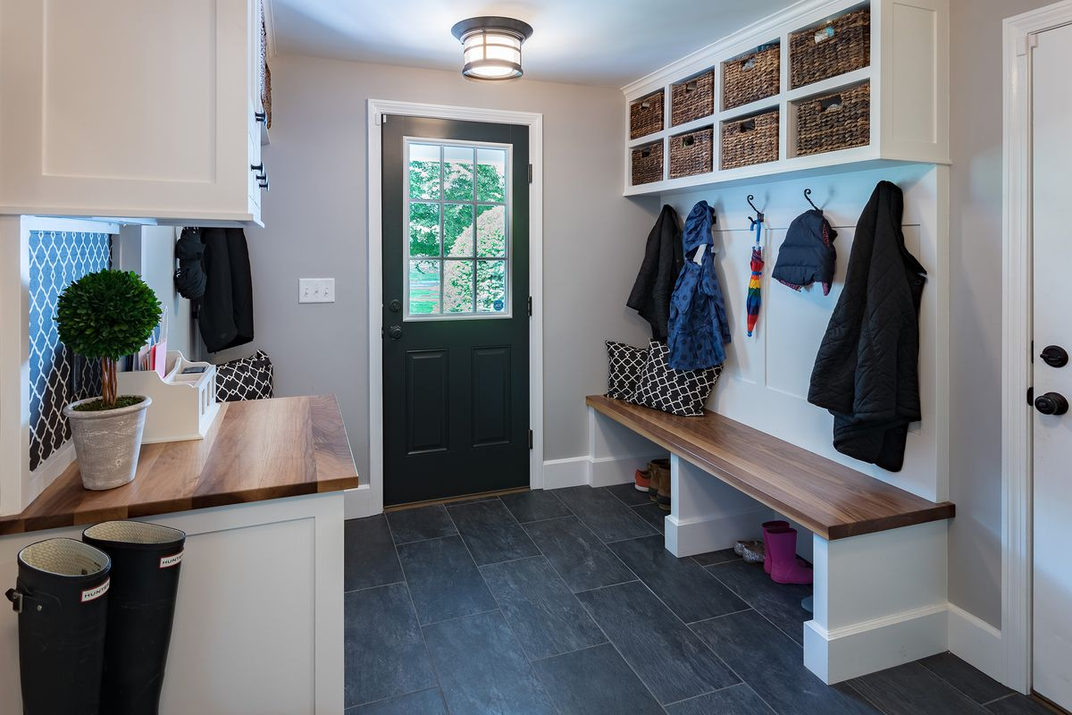 Mudroom with bench.