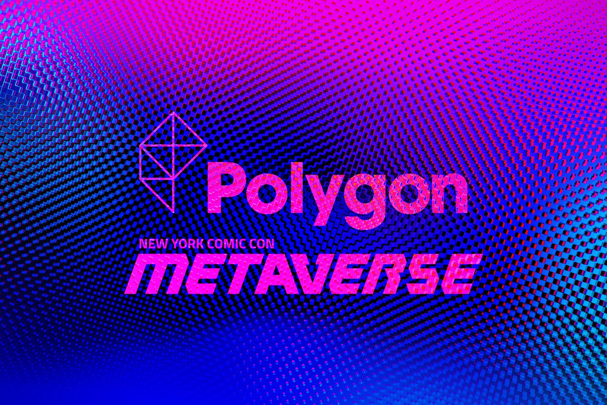 """glossy and purple fresnel background with Polygon and New York Comic Con """"Metaverse"""" logos"""