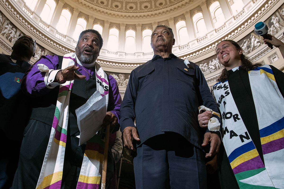 Reverend Jesse Jackson And William Barber Protest Within U.S. Capitol During 'Poor People's Campaign' Day Of Action