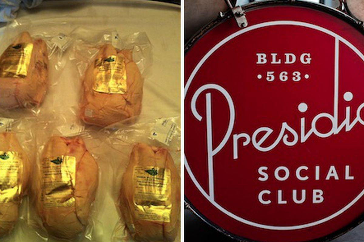 "Left: Kali Dining's foie gras. [Photo: <a href=""http://www.facebook.com/photo.php?fbid=390883877640373&amp;set=a.293209444074484.72379.289931347735627&amp;type=3&amp;theater"">Kali Dining / Facebook</a>] Right: the Presidio Social Club in San Francis"