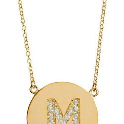 "<b>Jennifer Meyer</b> yellow gold & diamond 'M' pendant necklace, $1,800 at <a href=""http://www.barneys.com/Jennifer-Meyer-Yellow-Gold-Diamond-'M'-Pendant-Necklace/00469603225041,default,pd.html?"">Barneys New York</a>"