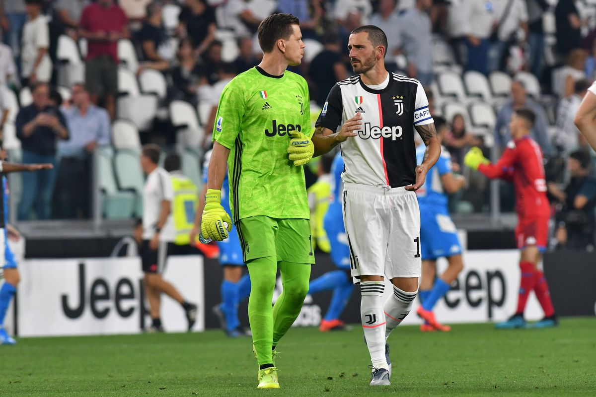 Wojciech Szczesny and Leonardo Bonucci of Juventus FC...