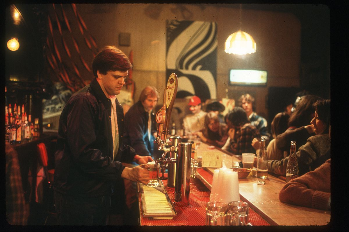 Zay N. Smith, aka Norty the bartender, behind the bar at the Mirage, the bar that the Chicago Sun-Times bought and operated to document graft in Chicago.