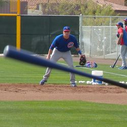 Mike Olt at first base, about to field a bunt