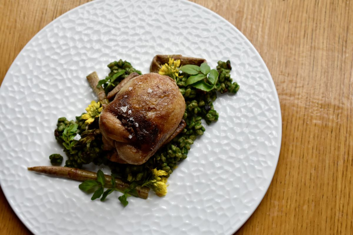 A white plate holds quail with nettle farro, sautéed Japanese knotweed, and watercress.