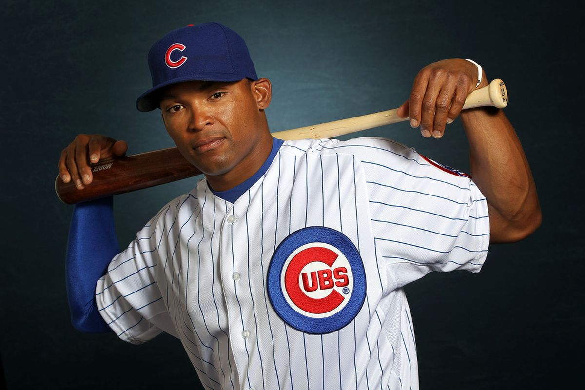 Marlon Byrd poses during Chicago Cubs photo day in Mesa, Arizona.  (Photo by Jamie Squire/Getty Images)