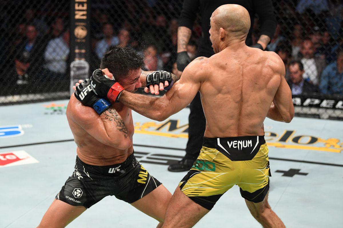 Jose Aldo and Pedro Munhoz at UFC 265