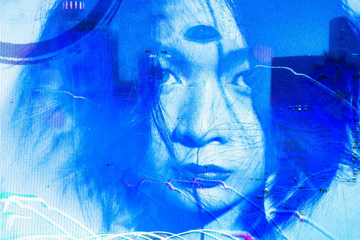 artwork of a vampire with her third eye open, rendered in blue, in Vampire: The Masquerade
