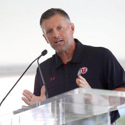Head Coach Kyle Whittingham speaks at the grand opening of the new Spence and Cleone Eccles Football Center at the University of Utah in Salt Lake City on Thursday, Aug. 15, 2013.