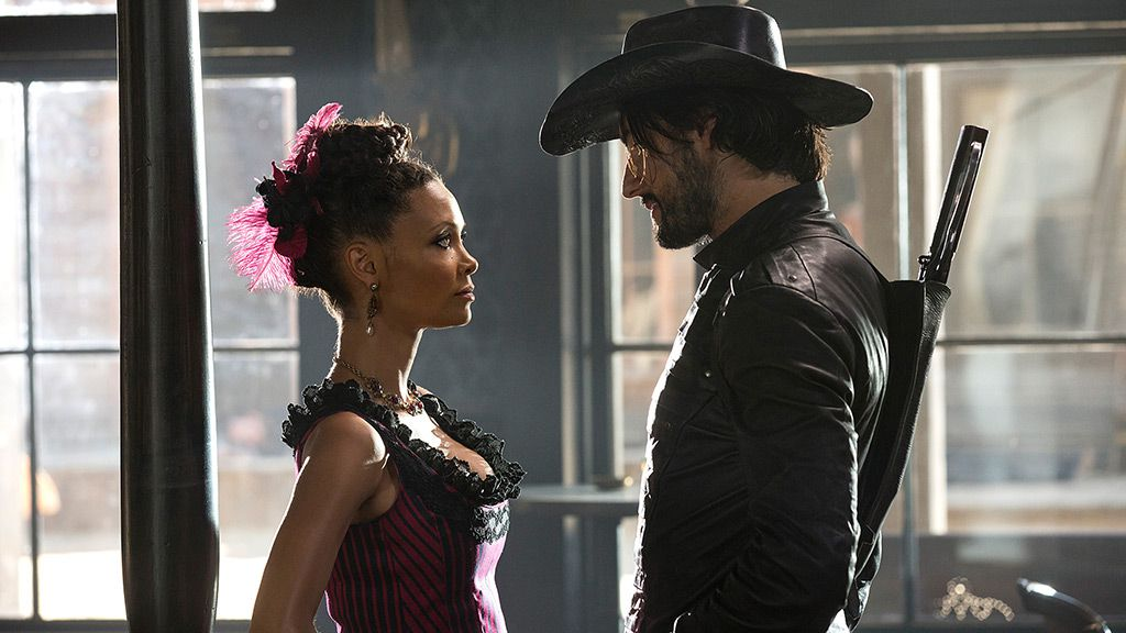 Thandie Newton as Maeve Millay and Rodrigo Santoro as Hector Escaton on Westworld.