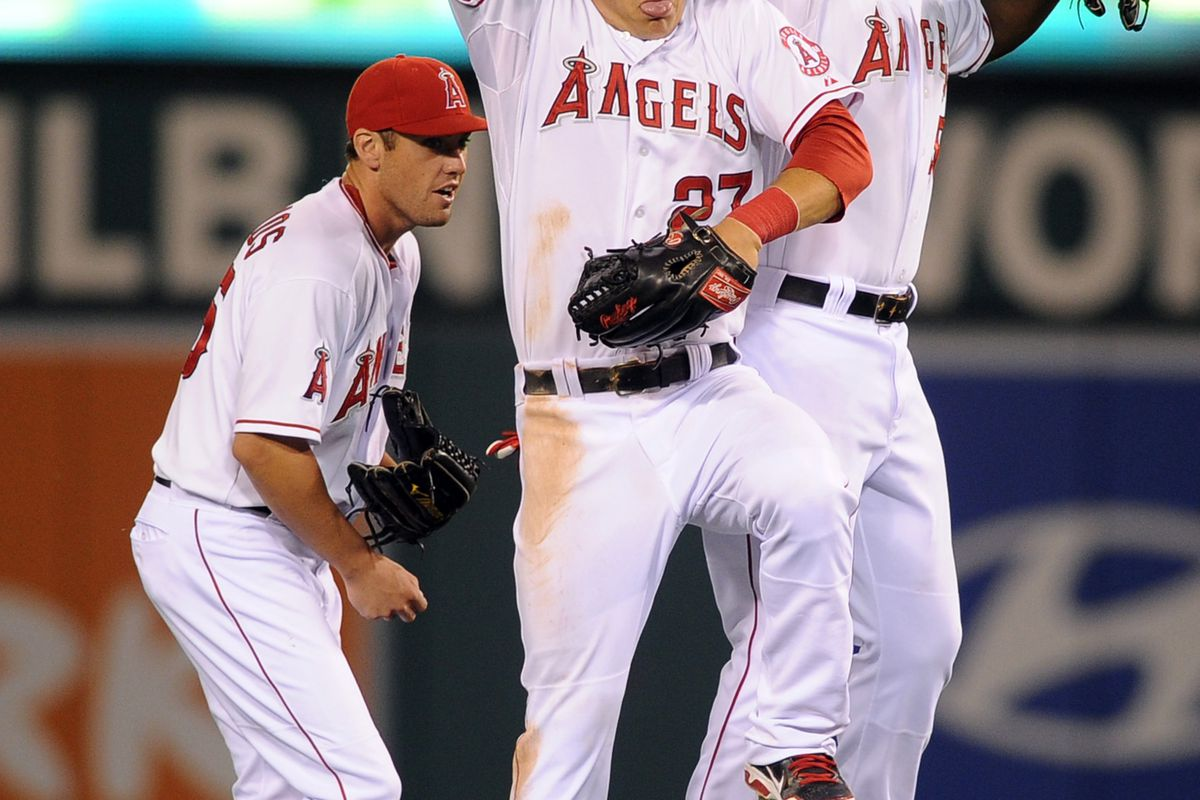 Jul 23, 2012; Anaheim, CA, USA; Los Angeles Angels celebrate after the game against the Kansas City Royals at Angel Stadium of Anaheim. The Los Angeles Angels defeated the Kansas City Royals 6-3. Mandatory Credit: Kelvin Kuo-US PRESSWIRE