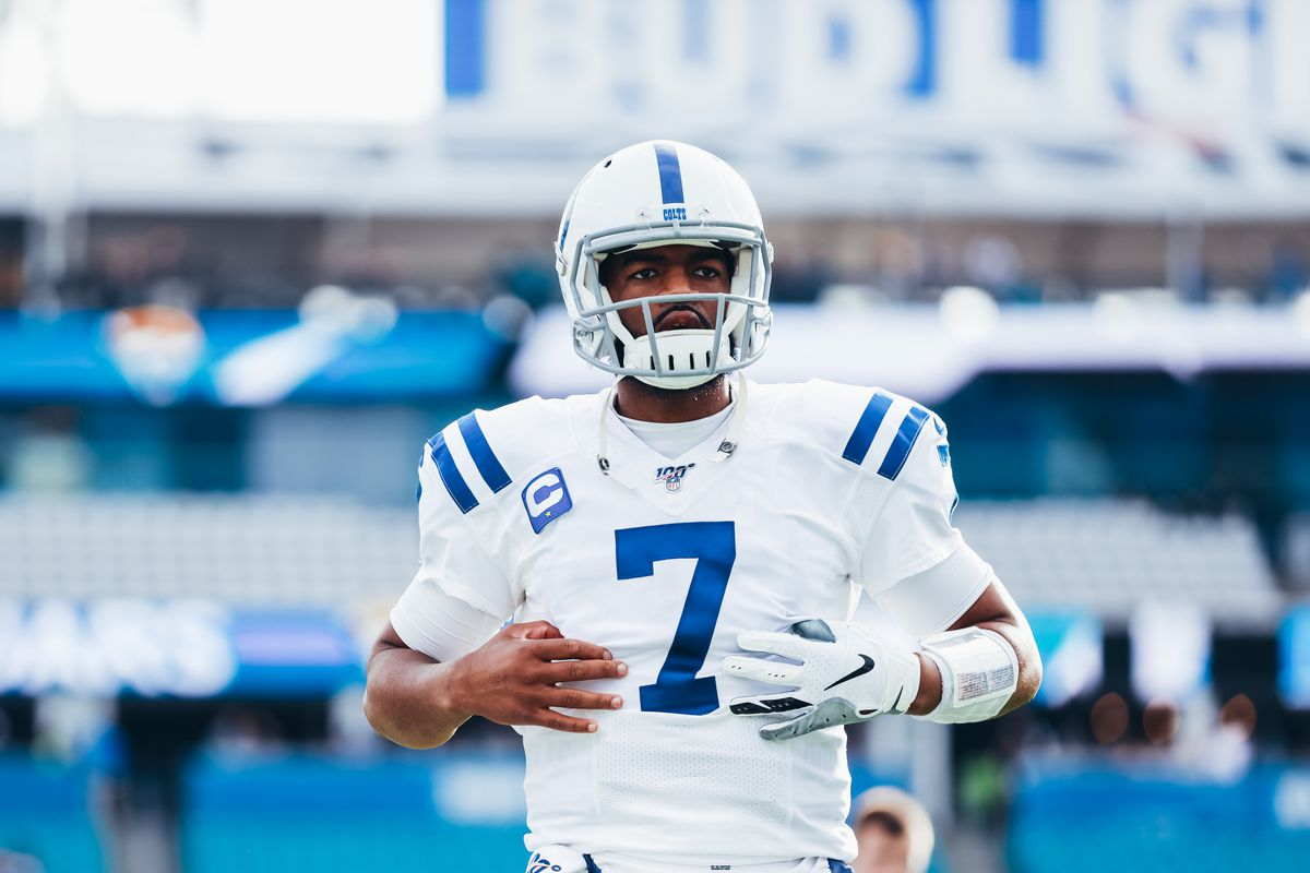Jacoby Brissett #7 of the Indianapolis Colts on the field before facing the Jacksonville Jaguars at TIAA Bank Field on December 29, 2019 in Jacksonville, Florida.