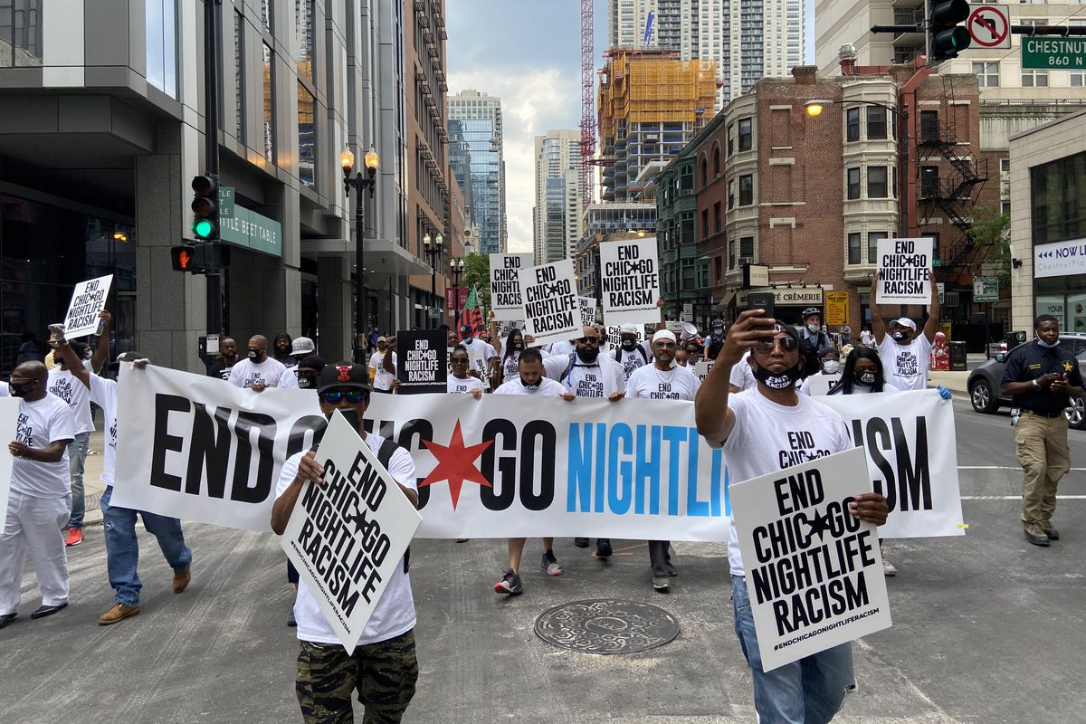About 50 people, including numerous Chicago nightclub owners and promoters held a march Saturday to call for an end to discrimination against Black-owned nightclubs and events downtown.