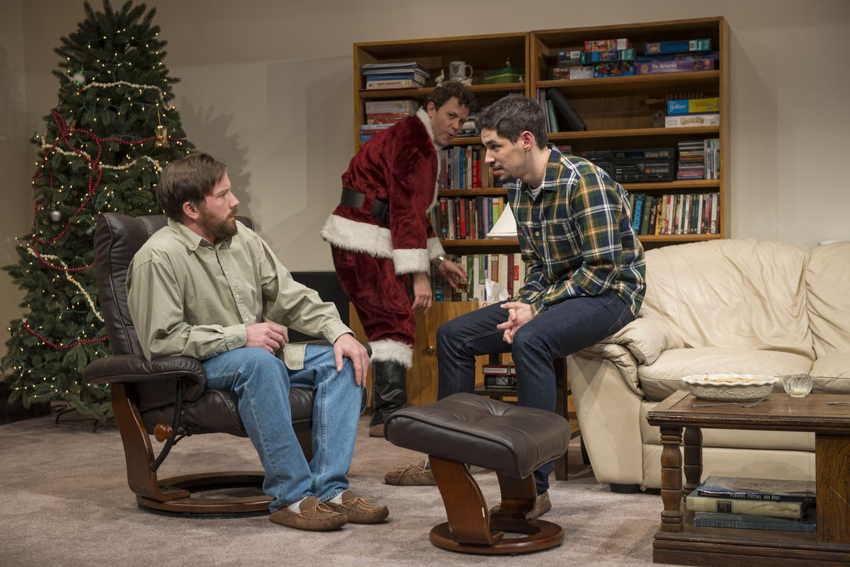 """Brian Slater (from left), Madison Dirks and Ryan Hallahan in the Steppenwolf Theatre production of Young Jean Lee's play """"Straight White Men."""" (Photo: Michael Brosilow)"""