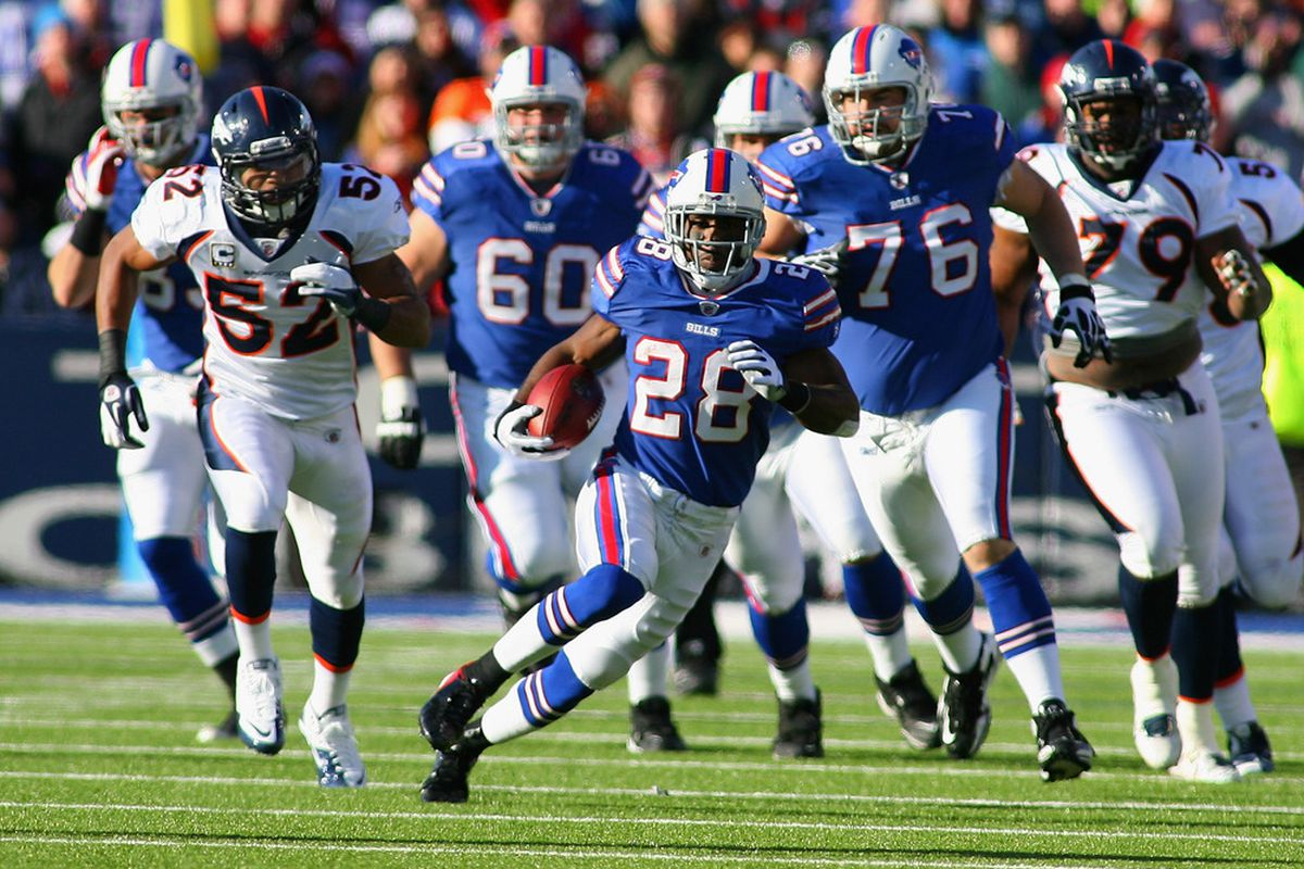 ORCHARD PARK, NY - DECEMBER 24:  C.J. Spiller #28 of the Buffalo Bills runs for 30 yards against the Denver Broncos at Ralph Wilson Stadium on December 24, 2011 in Orchard Park, New York.  (Photo by Rick Stewart/Getty Images)