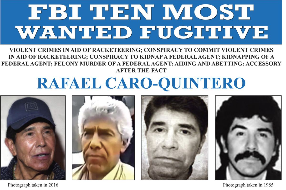 """In this image released by the FBI shows the wanted poster for Rafael Caro Quintero, who tortured and murdered U.S. Drug Enforcement Administration agent Enrique """"Kiki"""" Camarena in 1985. On Wednesday, April 7, 2021, Mexican President Andres Manuel Lopez Obrador has defended the 2013 ruling that freed Caro Quintero, even though Mexico's Supreme Court later ruled it was a mistake."""