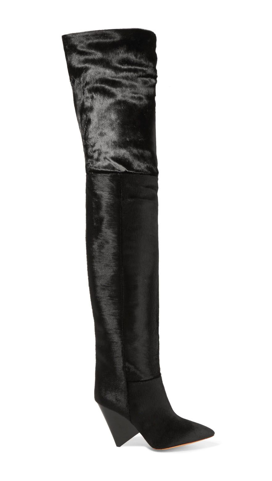 Isabel Marant Lostynn Calf Hair Over-the-Knee Boots, $2,085