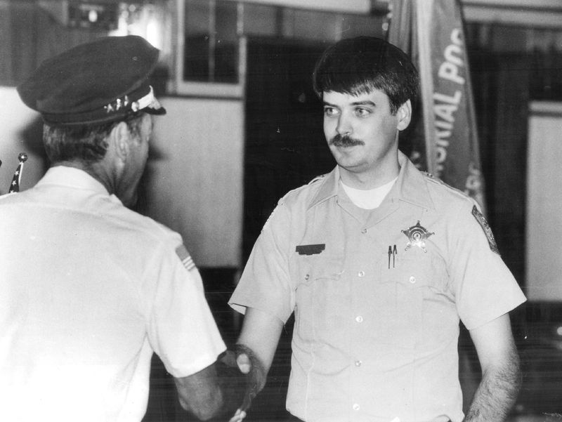 Tom Weitzel, a Riverside police officer who went on to be police chief, is seen here in 1988 when he was honored by the Veterans of Foreign Wars. He'd been shot the previous year while on patrol.