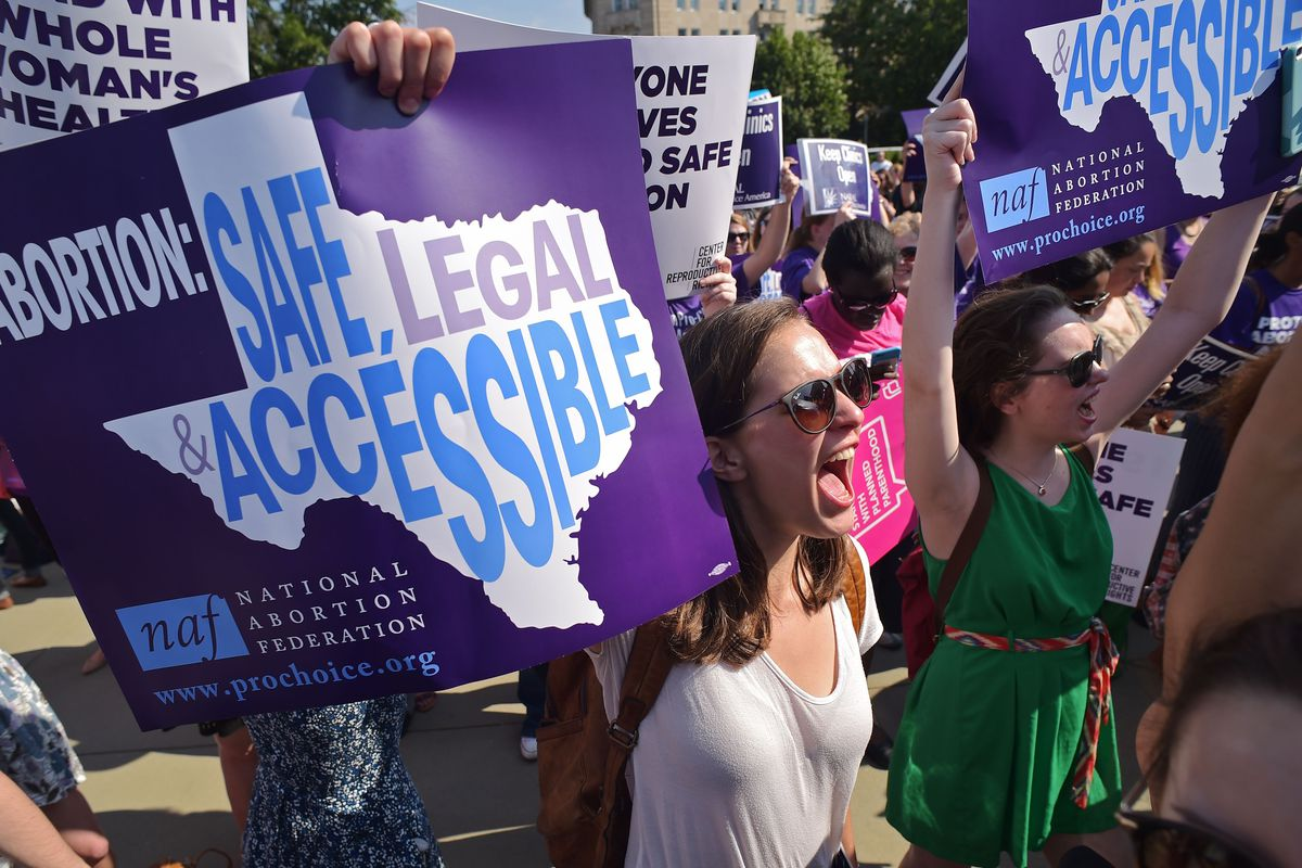 Abortion rights activists protesting outside the Supreme Court on June 27, 2016