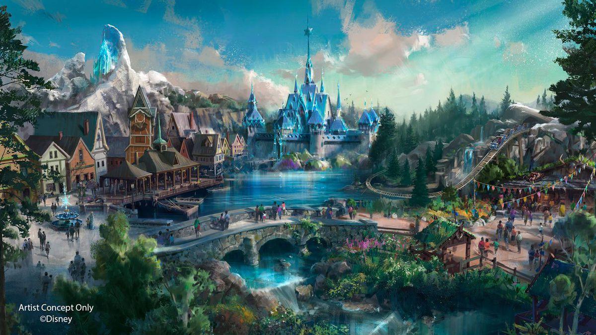 Concept art of Frozen land ice castle at Shanghai Disneyland