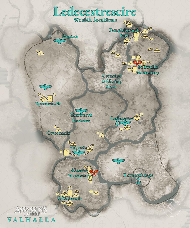 Ledecestrescire Wealth locations map