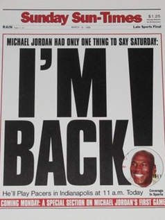 Extensamente Eliminar adolescentes  Michael Jordan proclaimed 'I'm back' 20 years ago today - Chicago - Chicago  Sun-Times