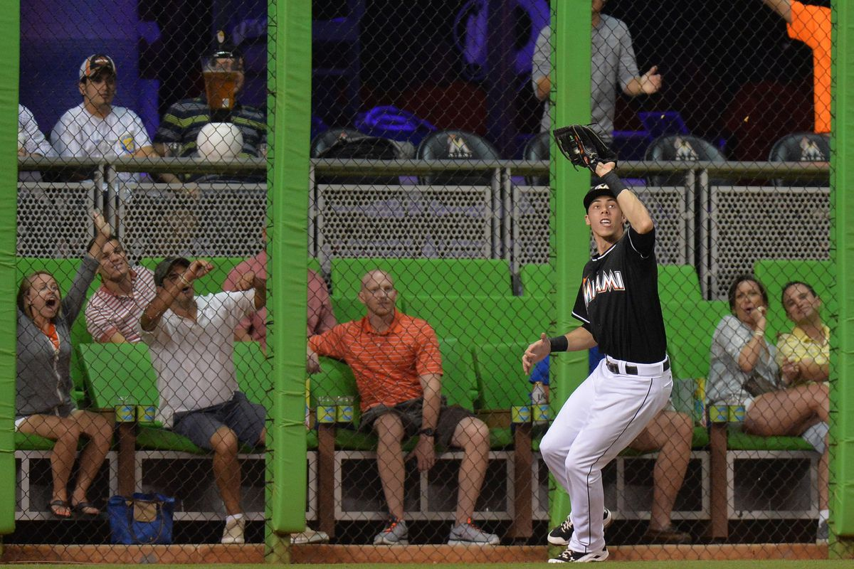 Christian Yelich would be best served in the outfield for Miami.