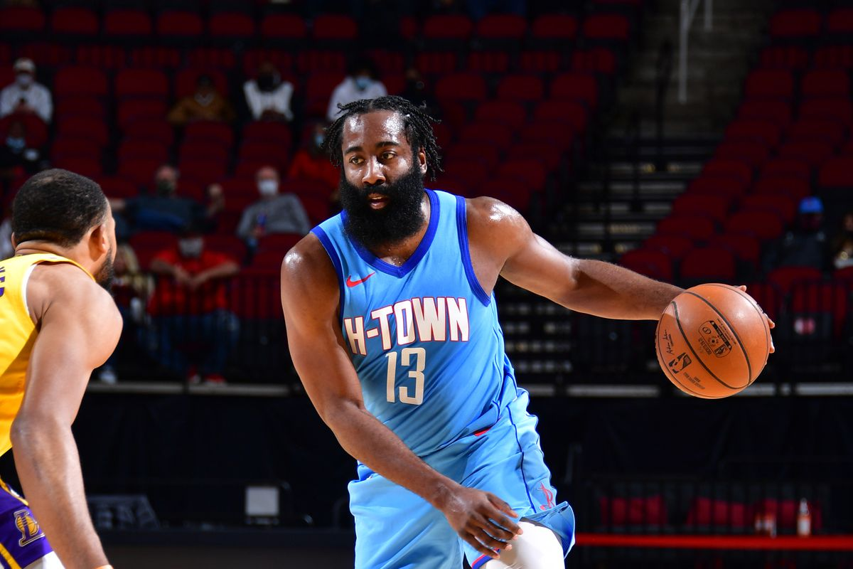 James Harden #13 of the Houston Rockets dribbles the ball during the game against the Los Angeles Lakers on January 12, 2021 at the Toyota Center in Houston, Texas.