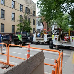 5:05 p.m. Contractor trucks still parked on Kenmore -