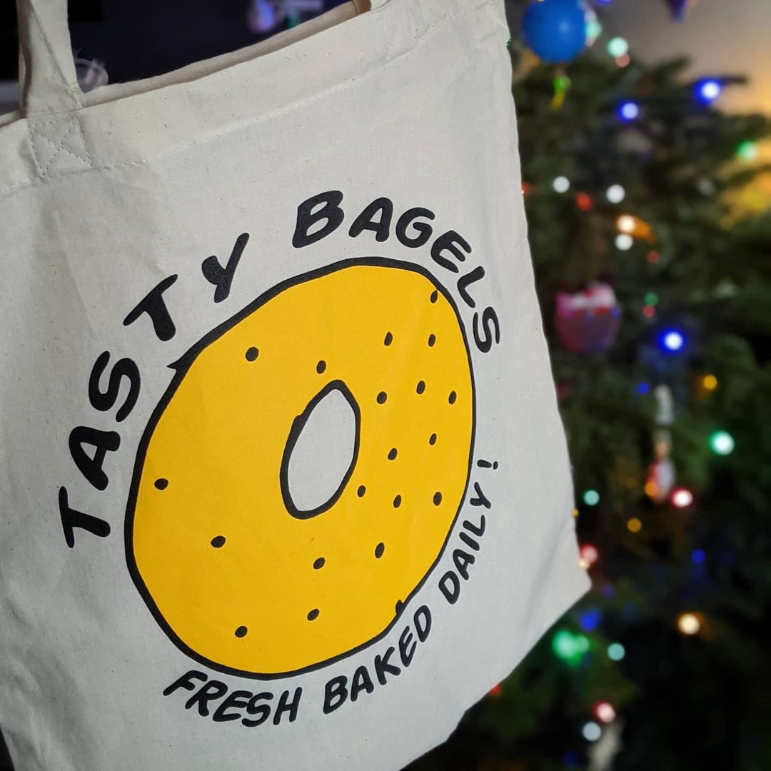The best London restaurant merch to buy right now includes this bagel tote from The Bagel Guys
