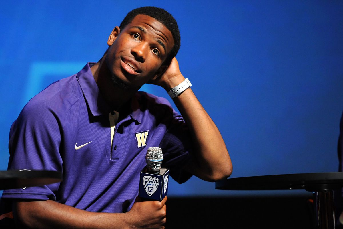 July 24, 2012; Los Angeles, CA, USA;    Washington Huskies quarterback Keith Price has to take some time to consider his options before he can decide who to vote for in the Weekend Debate. Mandatory Credit: Jayne Kamin-Oncea-US PRESSWIRE