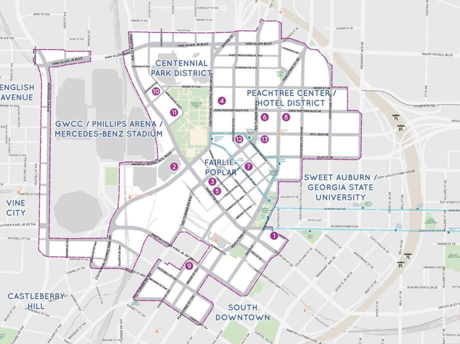 A map of downtown Atlanta with points highlighted in purple.