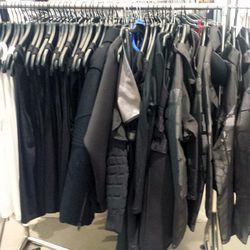 First up: the merch left at H&M West Hollywood. There were about four racks filled with parkas, men's jackets, basic tanks and tees, and more. Mostly sizes 8 to 12 remained in the women's wool-blend biker jacket, down vest parka, hooded windproof jacket,