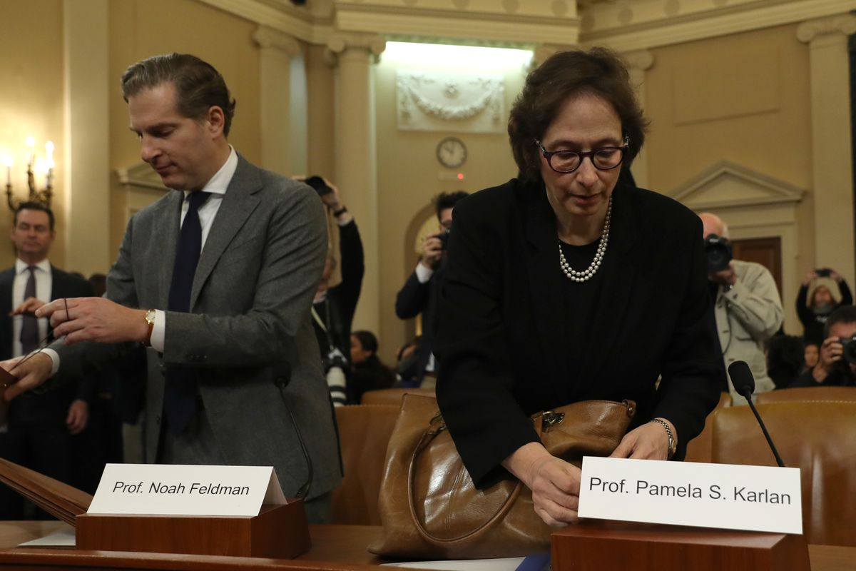 Constitutional scholars Noah Feldman and Pamela Karlan arrive to testify before the House JudiciaryCommittee about impeachment in December 2019.