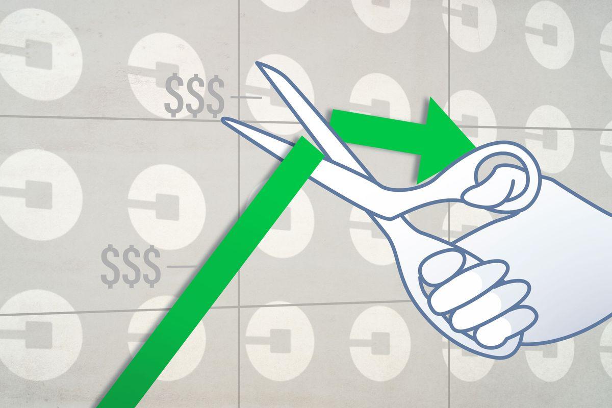 Illustration of a hand holding scissors, cutting a green upward trend line