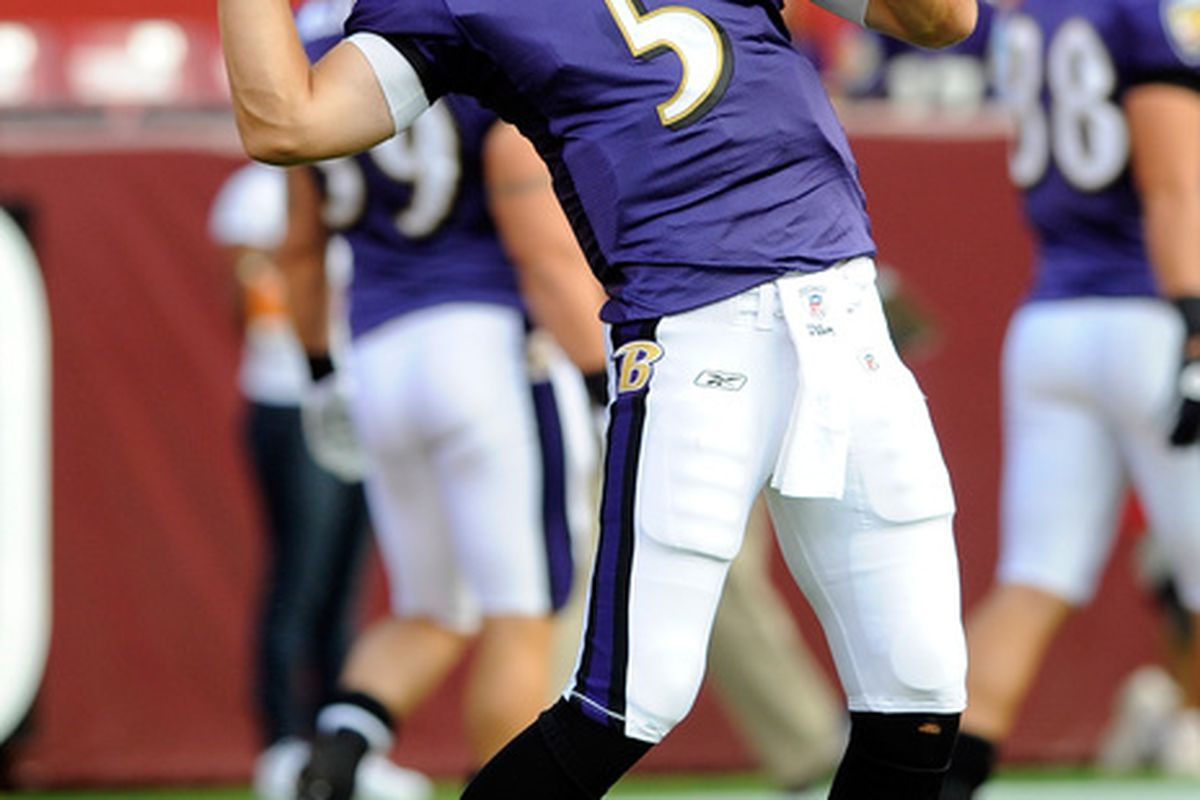 LANDOVER MD - AUGUST 21: Joe Flacco #5 of the Baltimore Ravens warms up before the preseason game against the Washington Redskins at FedExField on August 21 2010 in Landover Maryland.  (Photo by Greg Fiume/Getty Images)