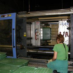 A large plastic injection mold machine at Orbit Irrigation Products, Inc. in North Salt Lake.