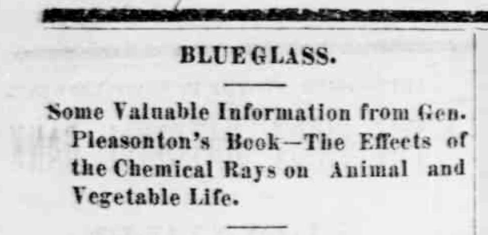 A headline promoting the blue glass craze.