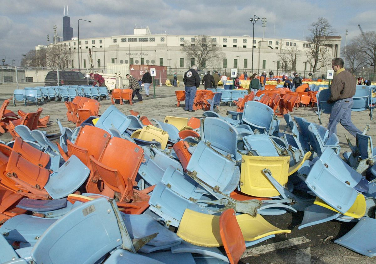 When renovations to Soldier Field were begun in 2002, tens of thousands of seats were ripped out and dumped in the parking lot south of the stadium.