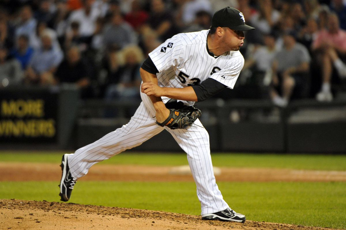 August 20, 2012; Chicago, IL, USA; Chicago White Sox relief pitcher Hector Santiago (53) delivers a pitch during the fourth inning against the New York Yankees at U.S. Cellular Field.  Mandatory Credit: Rob Grabowski-US PRESSWIRE