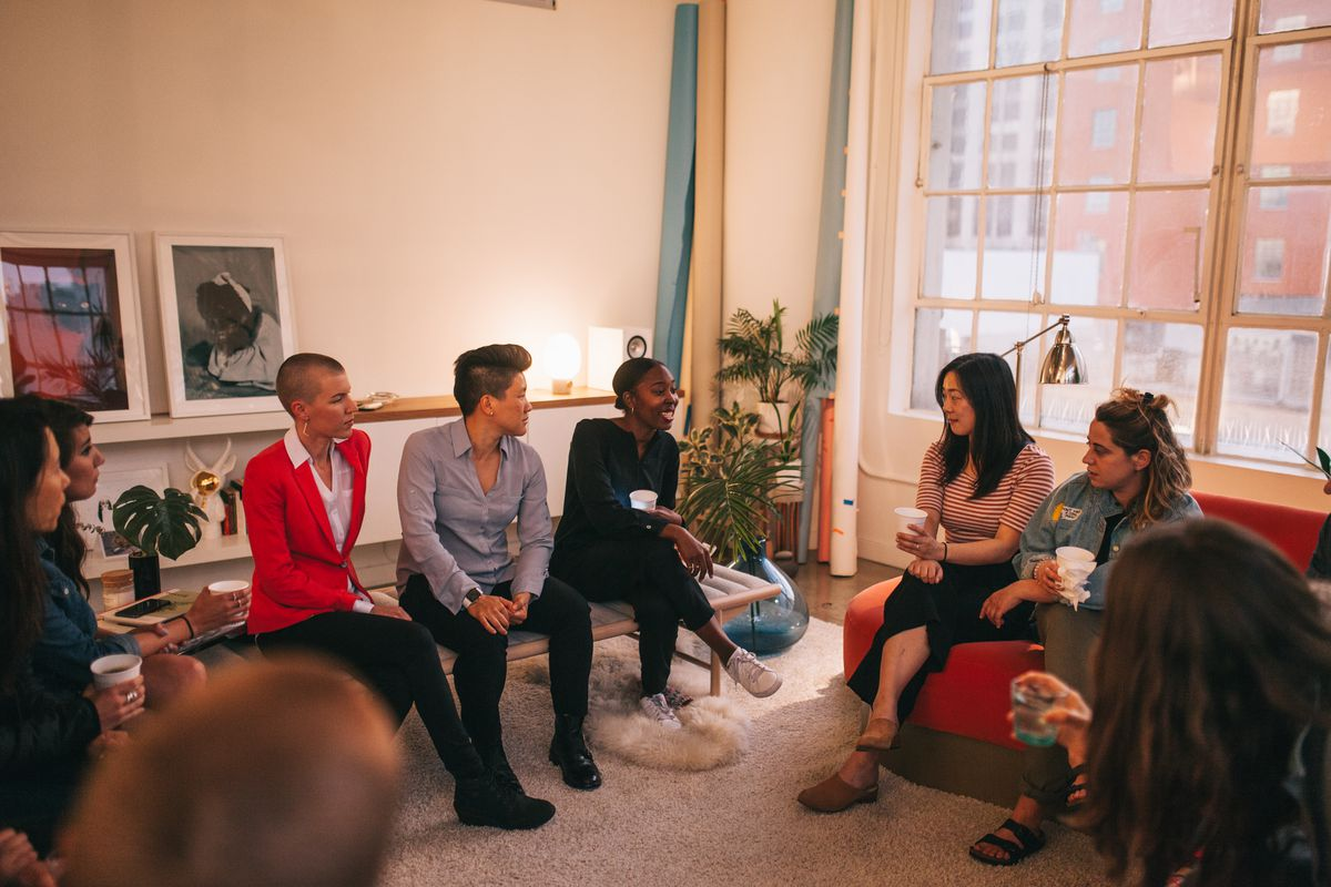 Women gather at an event facilitated by Quilt, a new app that promotes informal, hosted, in-home events.