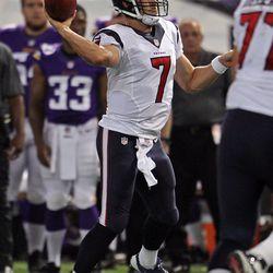 Aug 9, 2013; Minneapolis, MN, USA; Houston Texans quarterback Case Keenum (7) throws during the third quarter against the Minnesota Vikings at the Metrodome.